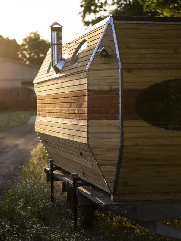 Mobile Sauna Leipzig Seitenansicht